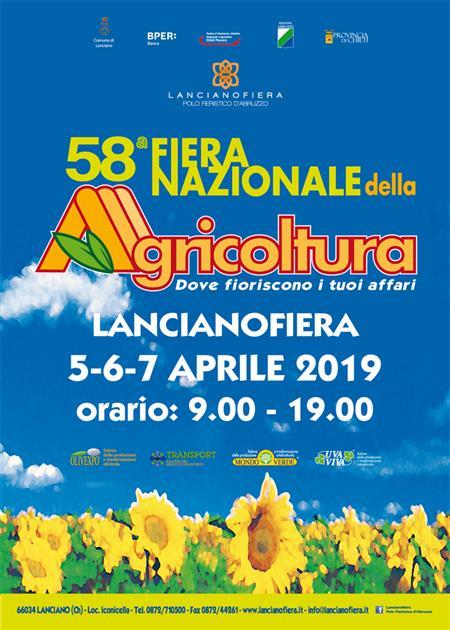 58^ Fiera Nazionale dell'Agricoltura in programma dal 5 AL 7 APRILE 2019