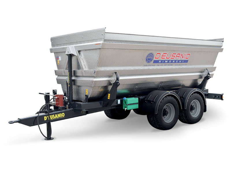 Two axles farming or grapes carriage trailer with bilateral Hydraulic titlting system. Up to 14.000 kg capacity