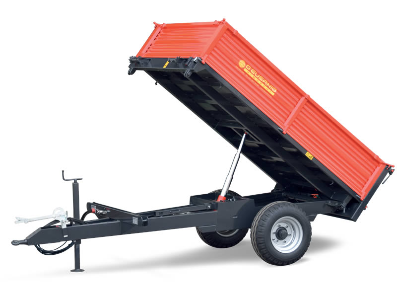 Single axle trailer with trilateral hydraulic Tilting system. Up to 5.000 kg capacity