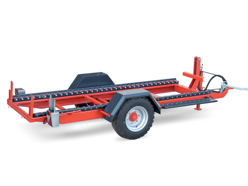 Hydraulic titlting platform single axle trailer for Large cases carriage. Up to 3.500 kg capacity