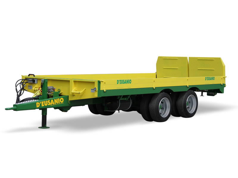 Low platform trialer and external wheels. For farming crawler Machines, large cases and hay bales. Up to 12.000 kg capacity